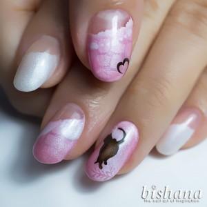 猫とハートピュアピンク